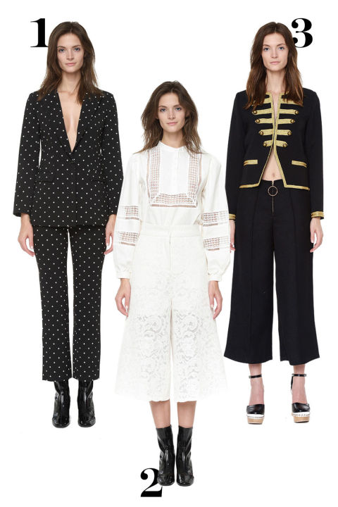 1. Printed blazer, $105,stylemafia.us. 2. Lace culottes, $79,stylemafia.us. 3. Band jacket, $125,stylemafia.us.