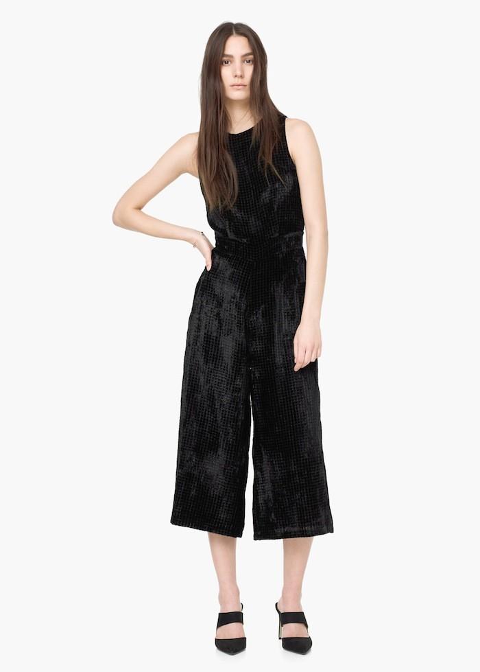 get-the-look-Mango Velvet Palazzo Jumpsuit ($70)